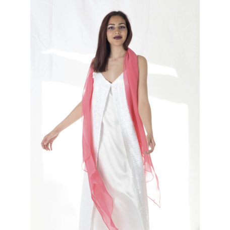 Beautiful white dress silk and sequins and extra long scarf fuschia