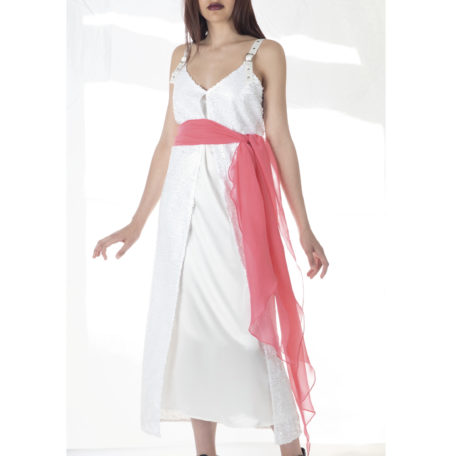 Beautiful white dress silk and sequins and extra long scarf fuschia as a belt