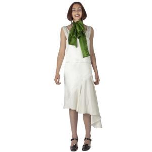 asymmetrical silk dress with a silk green scarf
