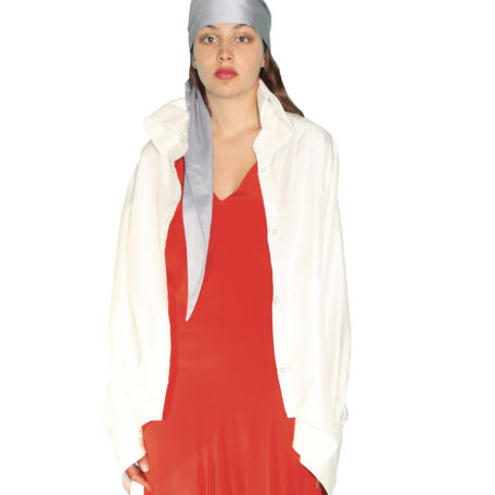 White silk shirt and a red dress