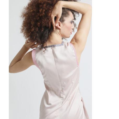 silk pink asymmetrical dress