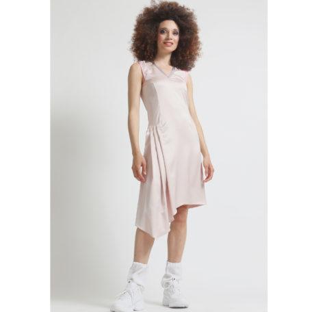 sporty silk pink asymmetrical dress