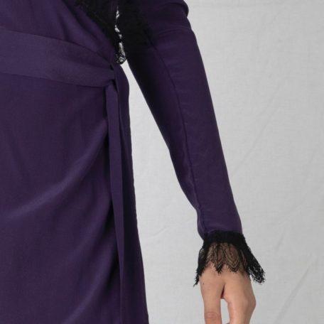 Robe portefeuille en crêpe de soie à manches longue