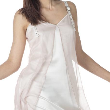 Robe sur mesure Lune de Miel en soie – rose et blanc