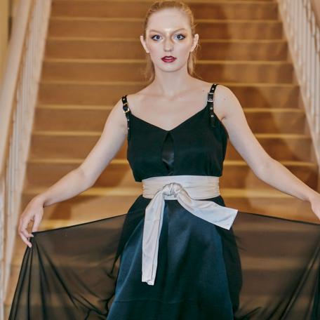 10-Robe en soie – Robe de Lune de Miel _ Robe sur-mesure Noir
