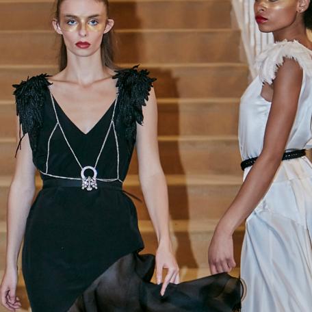 10-Robes en soie _ robes de soirée sur mesure années 20 noir et blanc pour demoiselles d'honneur
