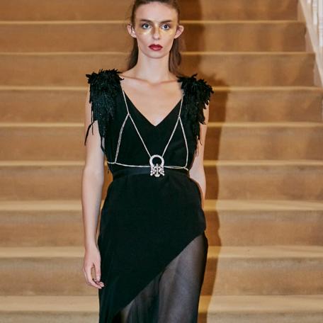 11-Robe en soie _ robe de soirée sur mesure années 20 noir sexy