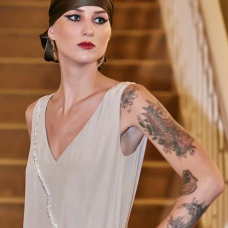 2-Robe en soie _ robe de soirée sur mesure années 20 crème