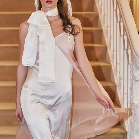 3-Robe en soie – Robe de mariage ou Robe de Lune de Miel Rose