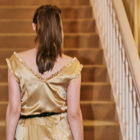 7-Robe en soie _ robe de soirée sur mesure années 20 dorée pour demoiselles d'honneur