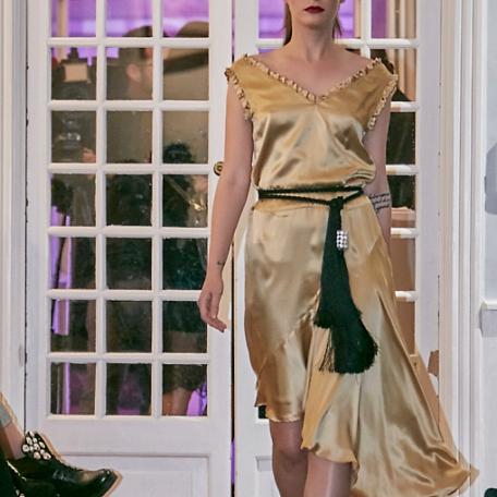 8-Robe en soie _ robe de soirée sur mesure années 20 dorée _ très bien pour demoiselles d'honneur
