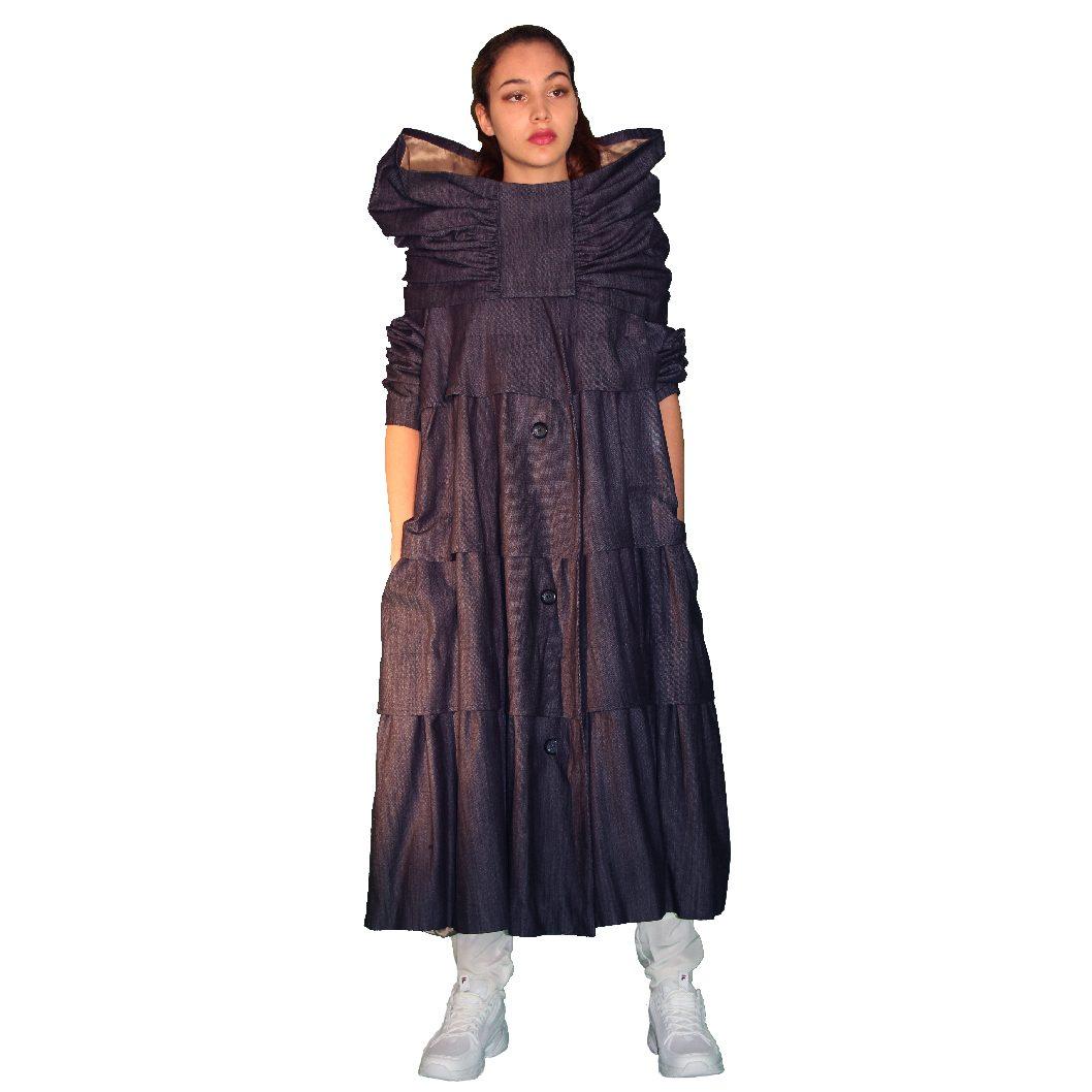 Manteau en denim à volants, doublé soie