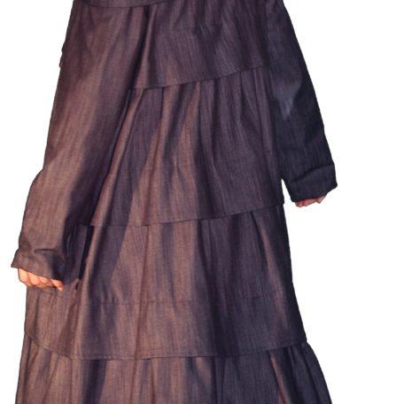 Manteau long à volants, inspiré 1933, en denim doublé soie