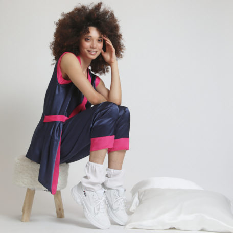 blue and pink  silk pyjamas and white silk socks