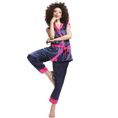 pyjama chic en soie, made in France, bleu et rose