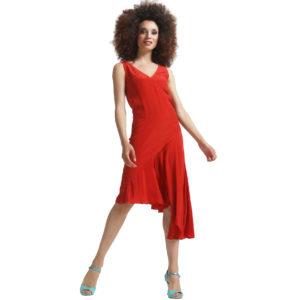 robe-soie-asymétrique-rouge