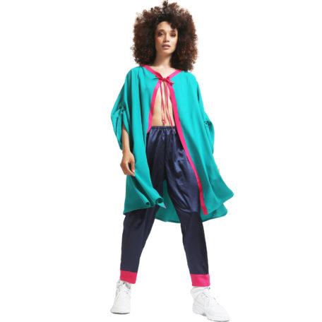 veste de kimono en soie verte et rose personnalisable