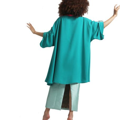 veste verte en soie forme kimono foxtrot de dos